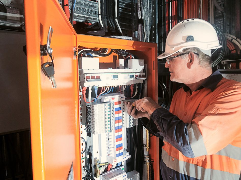 Electrician servicing commercial construction project